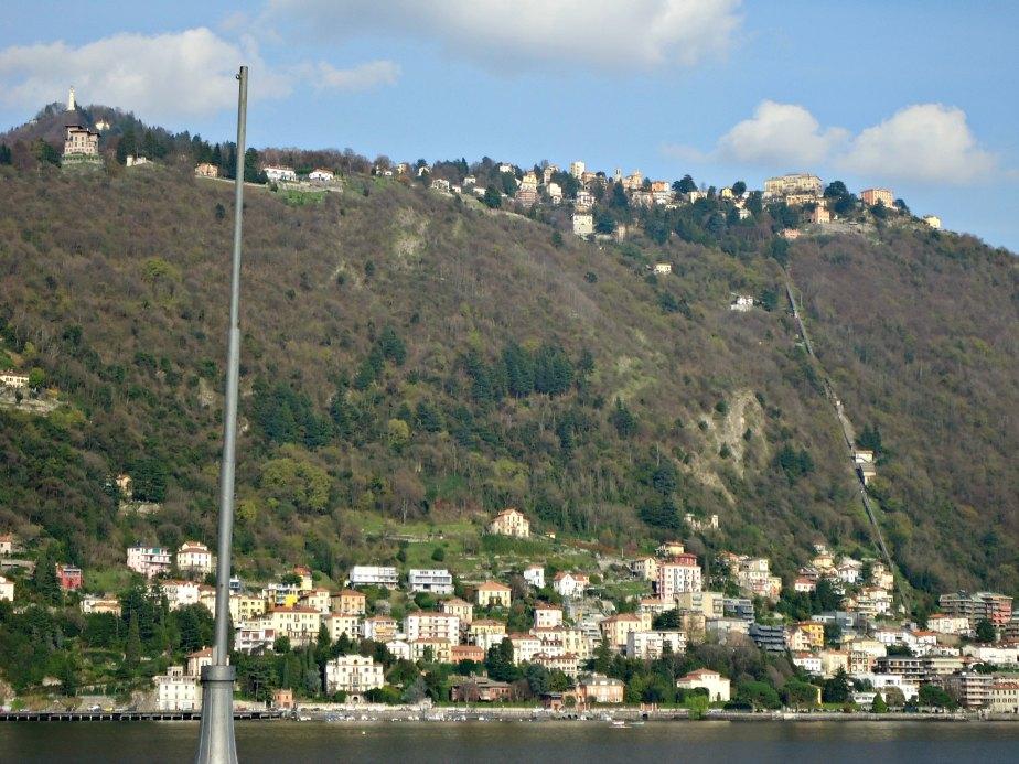 Faro Voltiano and Brunate from Across Lake Como