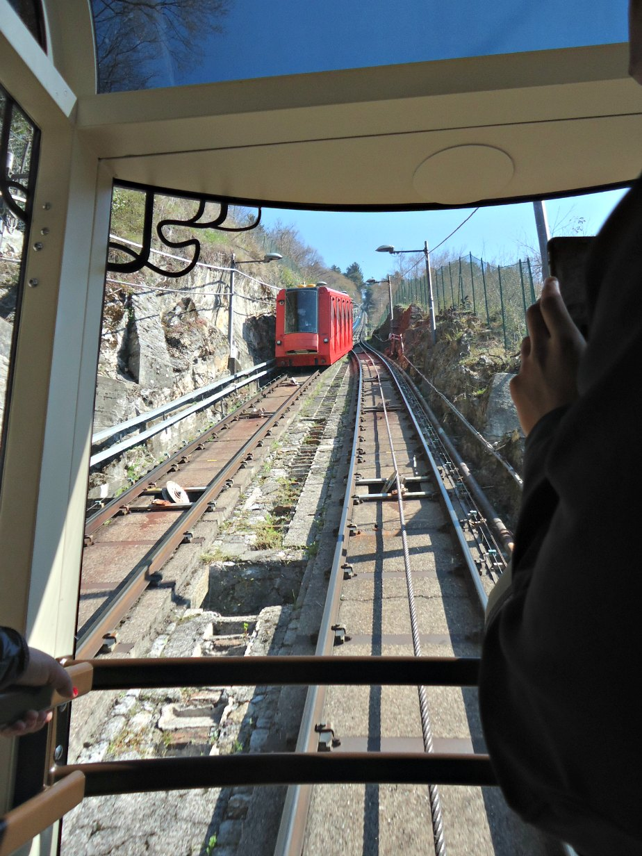 Approaching the Downhill Funicolare Carriage