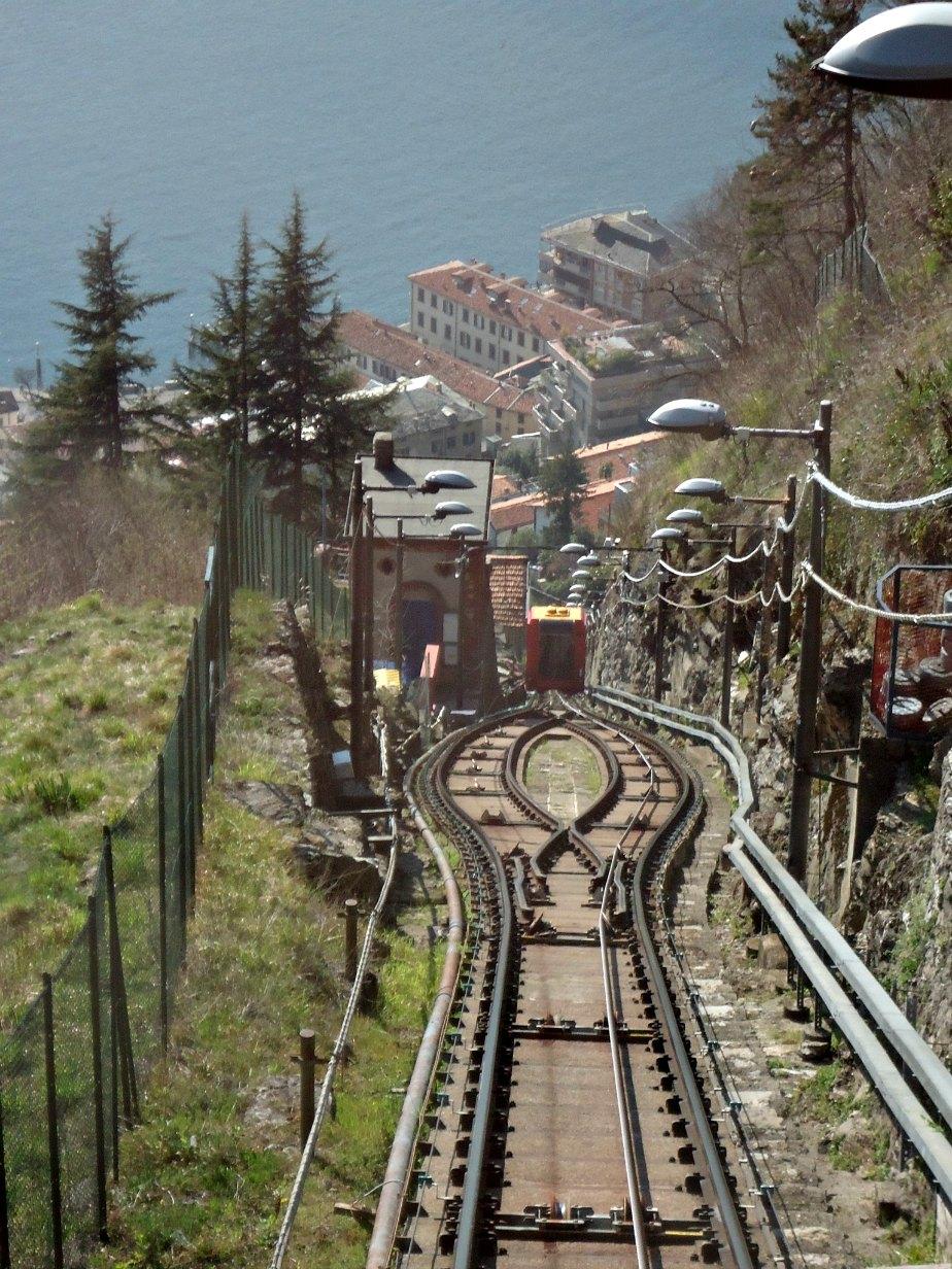 Descending towards Lake Como on the Funicolare Brunate Italy