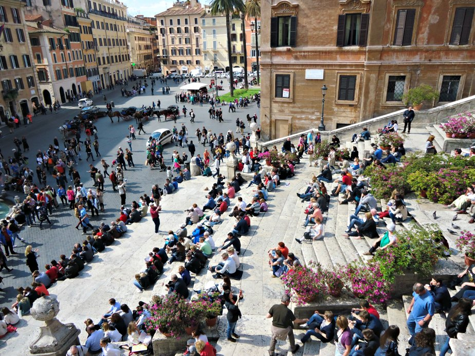 Piazza di Spagna and Babington's from Keats' Bedroom Window