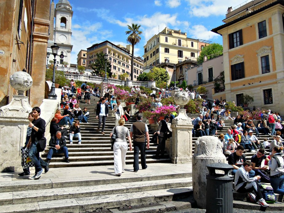Crowds Sitting all Over the Spanish Steps