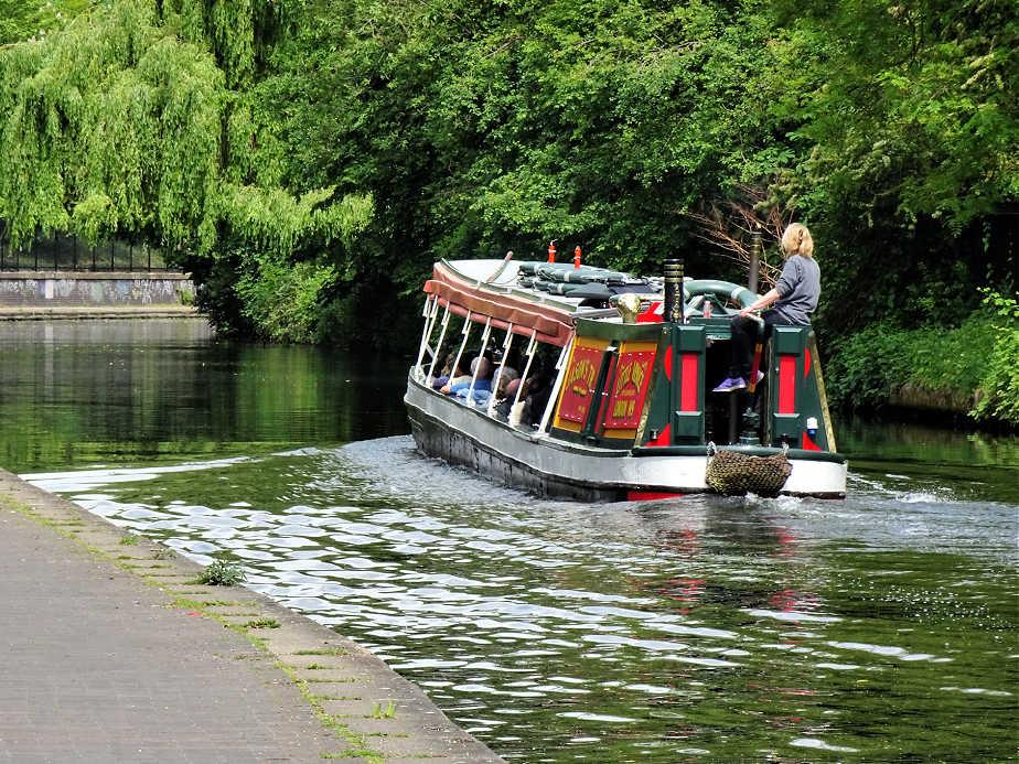 Long Boat navigating Regent's Canal