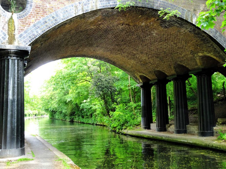 Columns holding up the road over Regent's Canal