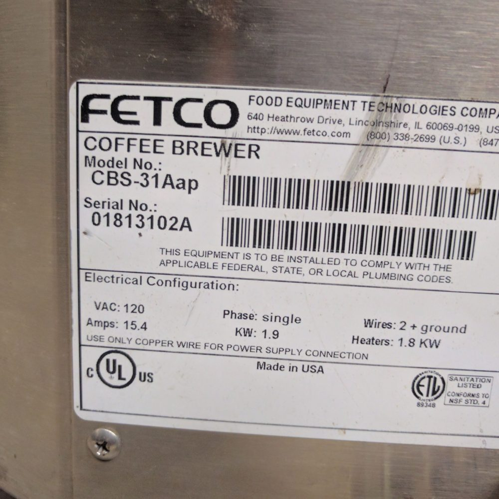 data plate Used Fetco CBS-31Aap Coffee Makers