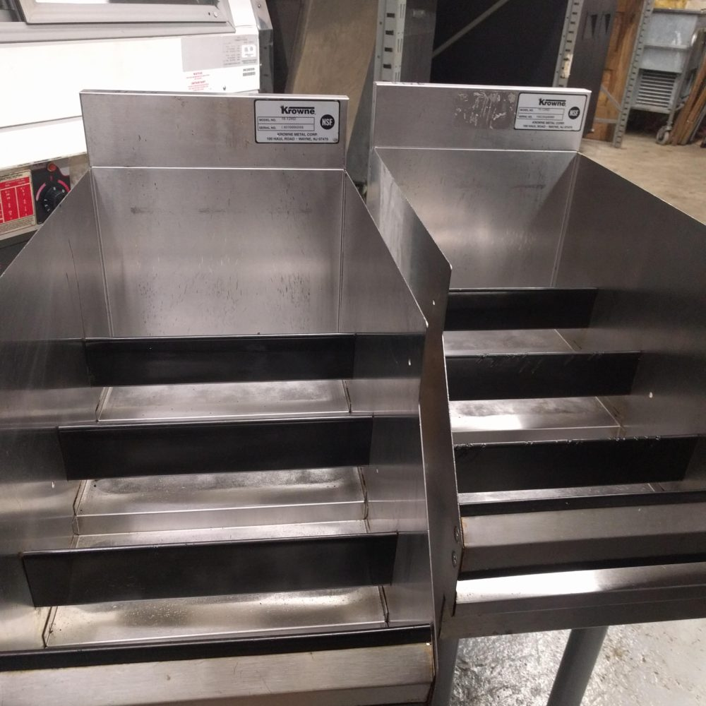 front view Used 4-Tiered Stainless Steel Liquor Rails #18-12RD