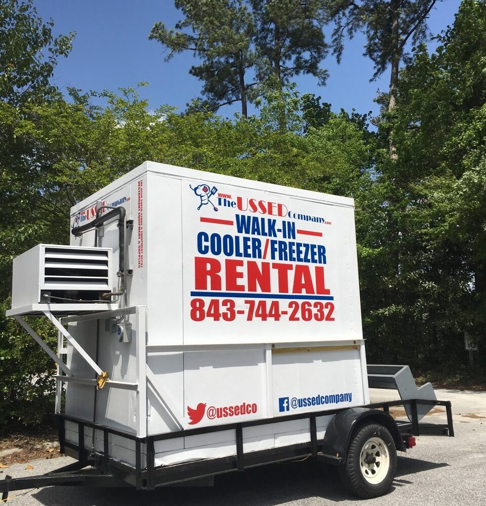 side view FOR RENT 6'x8' USSED Company Walk-in Cooler