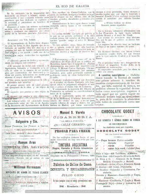 Eco de Galicia Newspaper number one Advertising - Founded by Jose Maria Cao Luaces