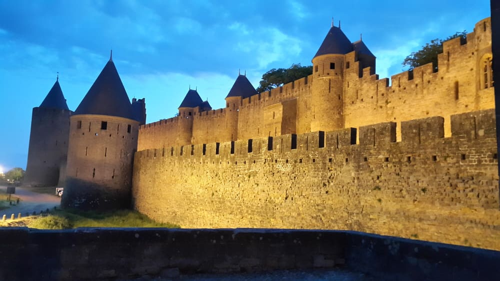 Night View of Carcassonne Walls