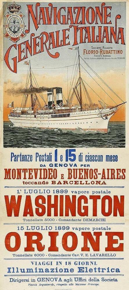 History of Steamboats Advertising 1890-1930 Navegazione Generale Italiana