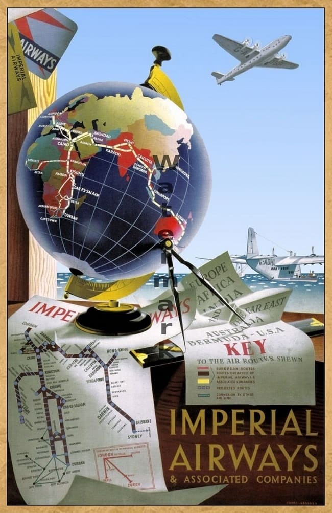 Imperial Airways -History of #Vessels #Travel #Advertising 1890-1930 At the end of the 19th century and the beginning of the 20th century, many shipping lines that transported mail and some passengers transformed their ships into luxury Vessels . It was no longer just the flow of #immigrants to #America. It was a transportation business by sea. And l#. #poster #ads #printer #history #plaques #decor #DIY