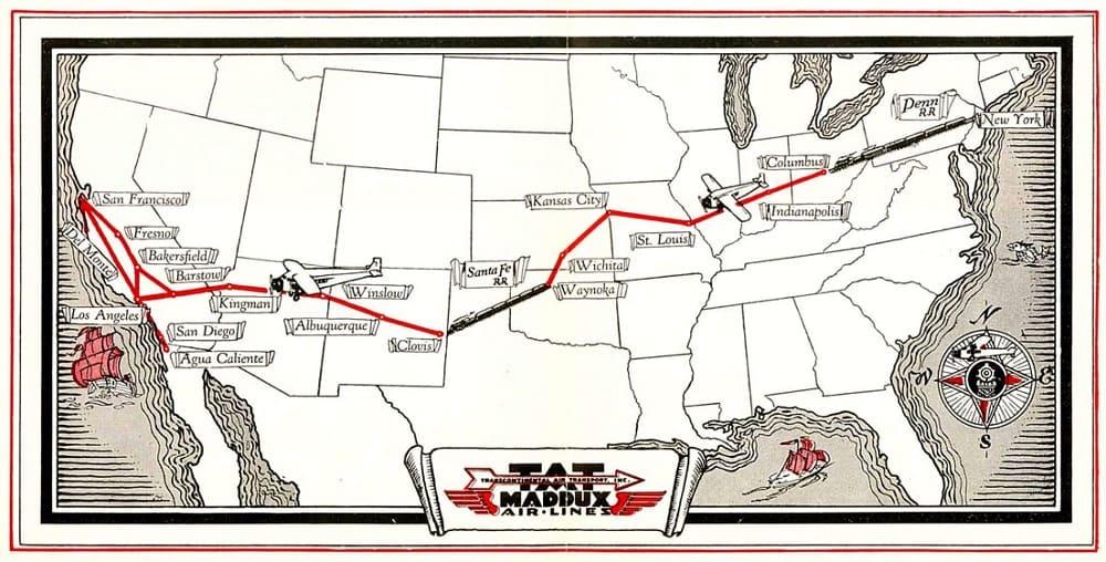 First Coast to Coast Flight 1929 Map - US History of Tourism: #USA #History