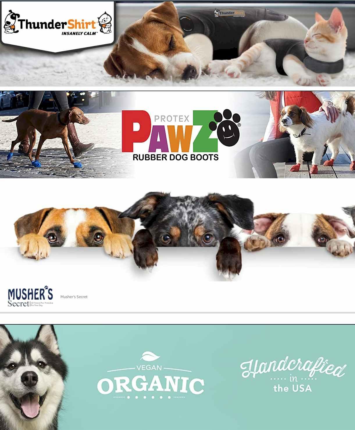 Thundershirt - Pawz - Mushers - Pets Accessories on Amazon -Pet Clothes & Accessories STORES Outward Hound Store - #Thundershirt - #Vivaglory - #Paws_Aboard - #QUMY - #Protex #PawZ - #Musher's Secret - #Rubie's - #Natural_Dog Company - #RUFFWEAR #pets #dog