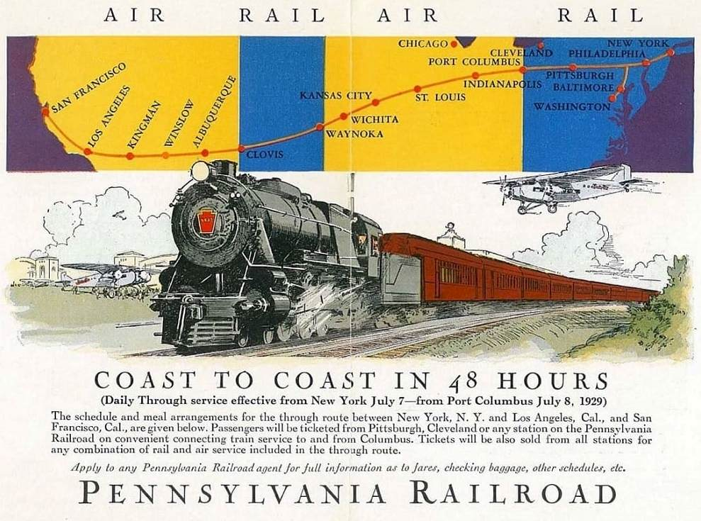 Pennsylvania Railroad - Coast to Coast 48 hs. - Ford Tri-Motor - EAA Aviation Center -US History of Tourism, first coast to coast flight: Transcontinental Air Transport (TAT) was an airline founded in 1928 by Clement Melville Keys that merged in 1930 with Western Air Express to form what became TWA
