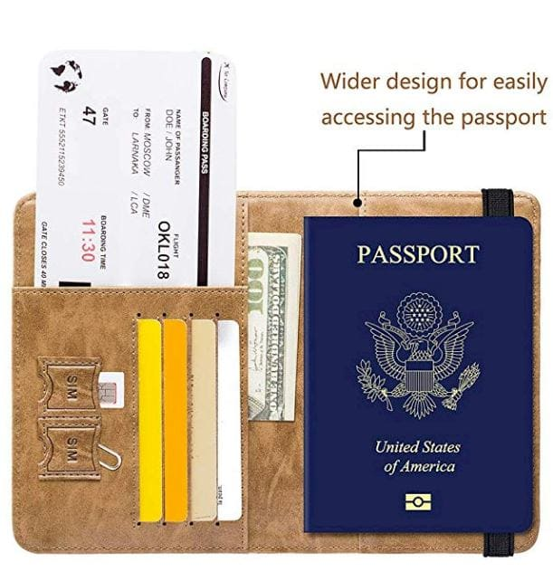 Passport Holder Cover Wallet RFID Blocking -Passport Holder Cover Wallet RFID Blocking Leather Card Case Travel Document Organizer