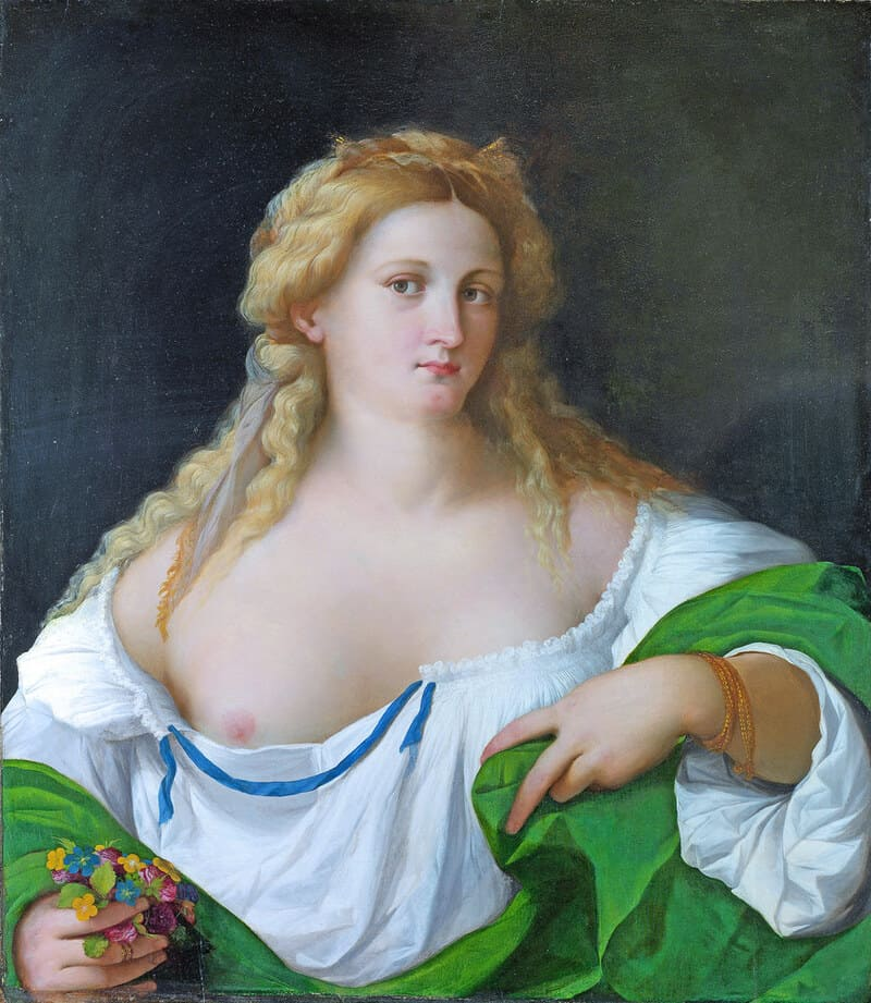 """Nude Paintings on National Gallery London -A Blonde Woman - Jacopo Negretti """"Palma the Elder"""" 1520"""