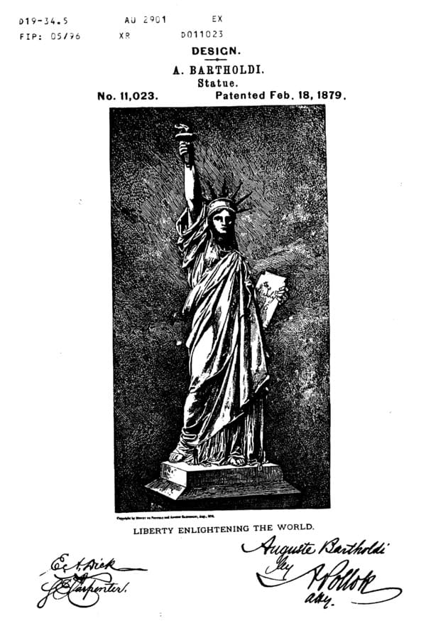 Statues of Liberty US Patent -The Four Statues of Liberty by Auguste Bartholdi The Statue of Liberty is that huge bronze statue that dominates the mouth of the Hudson River and is located south of Manhattan. It was a good gift that the French people made in 1886, to the American people to commemorate the Declaration of Independence of the United States of 1776