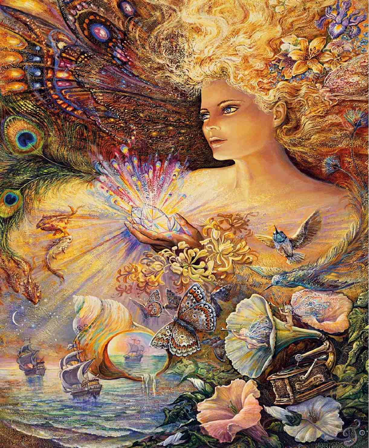Puzzles - Josephine Wall - Crystal of Enchantment (Glitter Edition) - 1000 Piece #Jigsaw #Puzzle #poster #prints #photo #DiY #vintage #toys