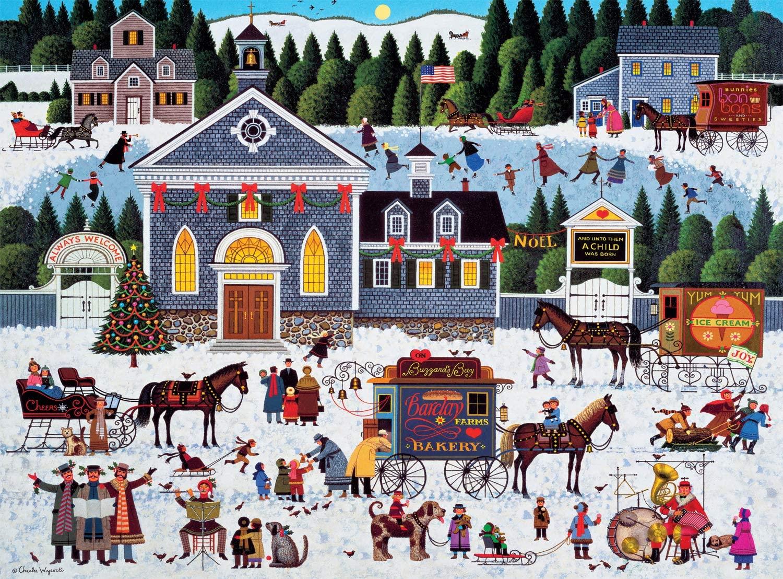 Charles Wysocki - Churchyard Christmas - Christmas Jigsaw Puzzle - 500 - 1000 Piece #Jigsaw #Puzzle #poster #prints #photo #DiY #vintage #toys