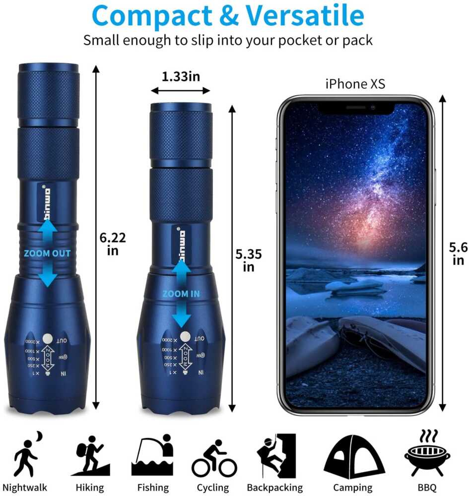 Handheld Flashlights - Travel Gadgets 2021 LED Tactical Flashlight, -Super Bright High Lumen XML T6 LED Flashlights Portable Outdoor Water Resistant Torch Light Zoomable Flashlight with 5 Light Modes