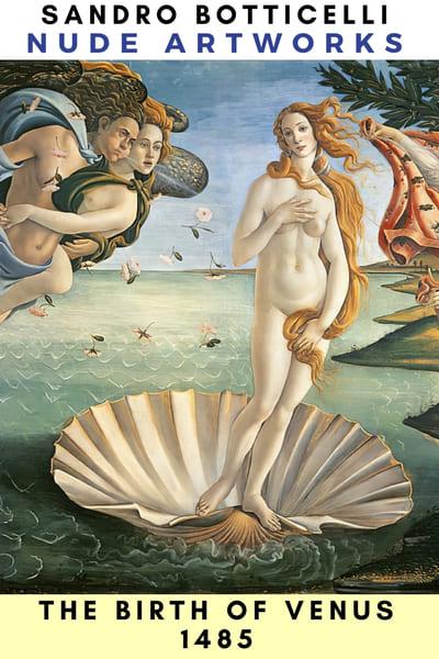 The Birth of Venus (1484). Tempera on canvas, 184.5 x 285.5 cm, Uffizi, Florence - Nude in Art Renaissance