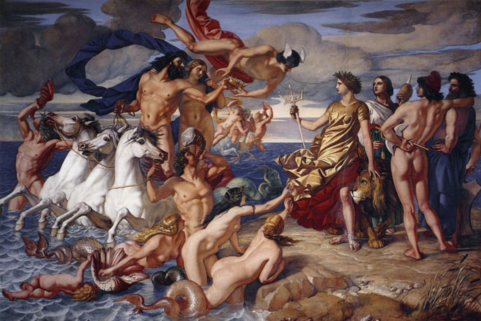 Queen Victoria ordered Scottish painter William Dyce to create Neptune Resigning To Britannia The Empire Of the Sea – a large fresco of the Roman god playing naked with a gaggle of nude nymphs. At the time, Dyce wrote that Prince Albert 'thought it rather nude' but the queen had no issue with it.