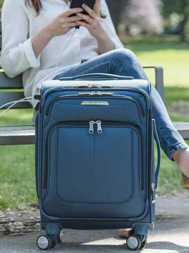 Samsonite Solyte DLX Softside Expandable Luggage with Spinner Wheels, Mediterranean Blue, Carry-On 20-Inch