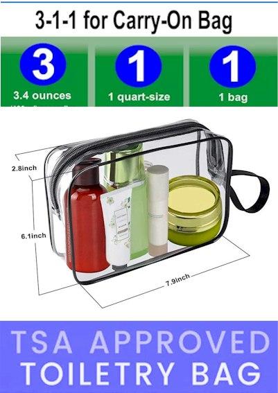 3-1-1 Toiletry Bag TSA Aproved 2021 - Maximum liquid carry-on airplane