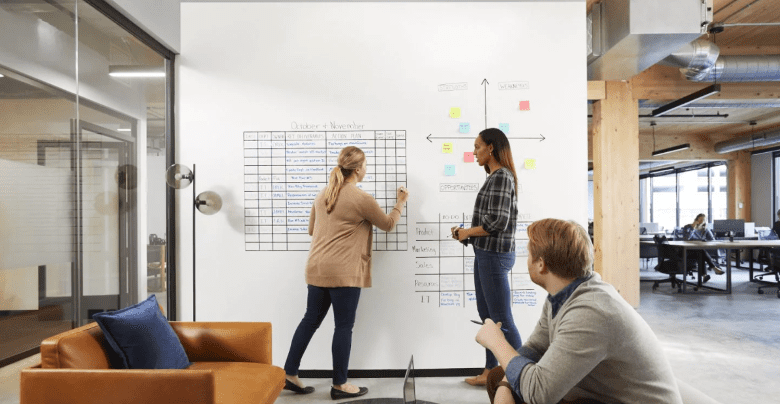Two women make a presentation in from of another man on a 3M™ Post-It® Flex Write Surface covered wall.