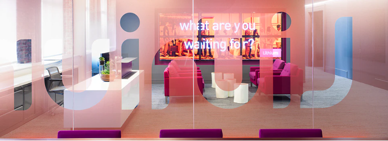 Image of store demonstrating effect of 3M™ Dichroic Glass Finishes