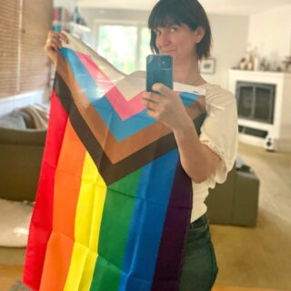"""Happy Pride!! 🏳️🌈 It's never too late to fly your flag, right?   I came out to my parents and siblings less than 3 years ago (I am 43!!). I'd always been out with my closest friends, my partner, and eventually our kids, but it took my daughter asking if my """"family-family"""" knew I was queer for me to understand the power and importance of articulating who I am beyond my inner circle. When I told her no, I didn't need to tell them, she —wiser than me at the age of ten, and maybe detecting my anxiety—said, """"if you aren't proud of who you are how can you expect me to be proud of who I am?""""   I have been so lucky to have a family, a partner, and a community that loves and welcomes me to be me, comfortable in my skin, declarative, out loud.   Yep, proud. 🌈💜"""