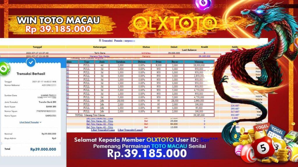 Bukti Pembayaran OLXTOTO kepada Member Result: 2200