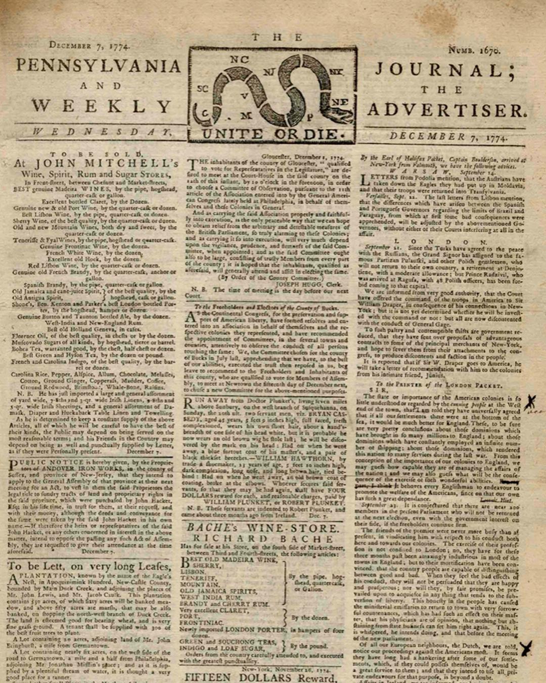 bejamin franklin newspaper auction
