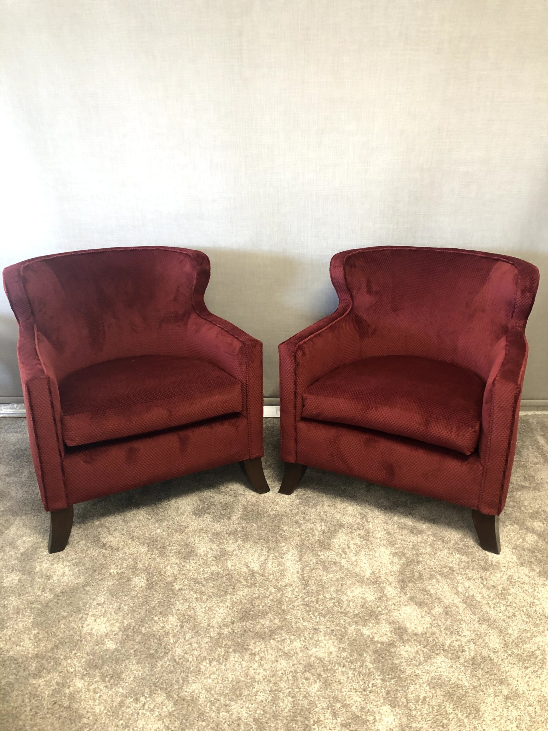 Newly reupholstered, soft dark, red chenille.