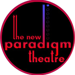 The New Paradigm Theatre - logo in red letters inside black circle
