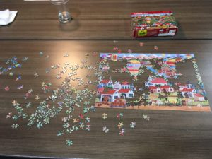 A jigsaw puzzle in process