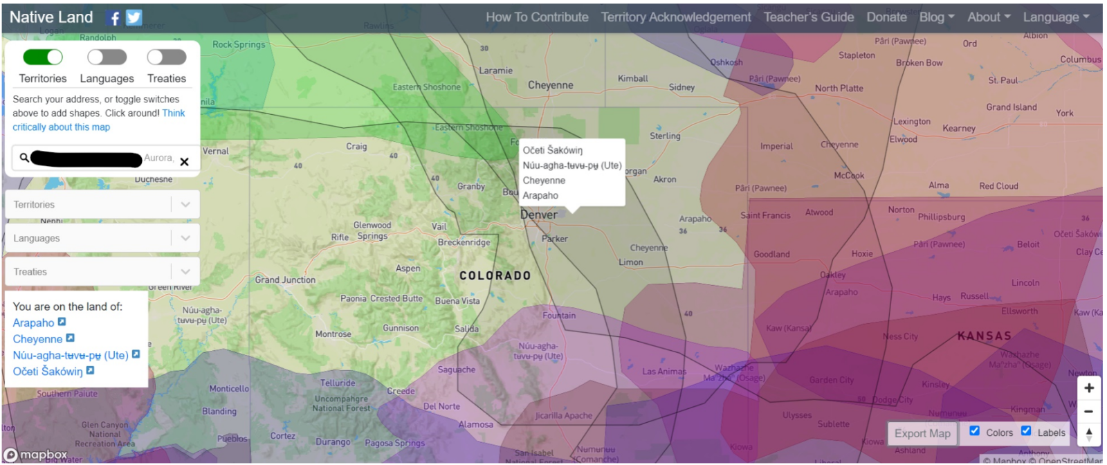 A screenshot of the map shown at native-land.ca when you input Aurora, Colorado, to retrieve names of those who had been on the land before