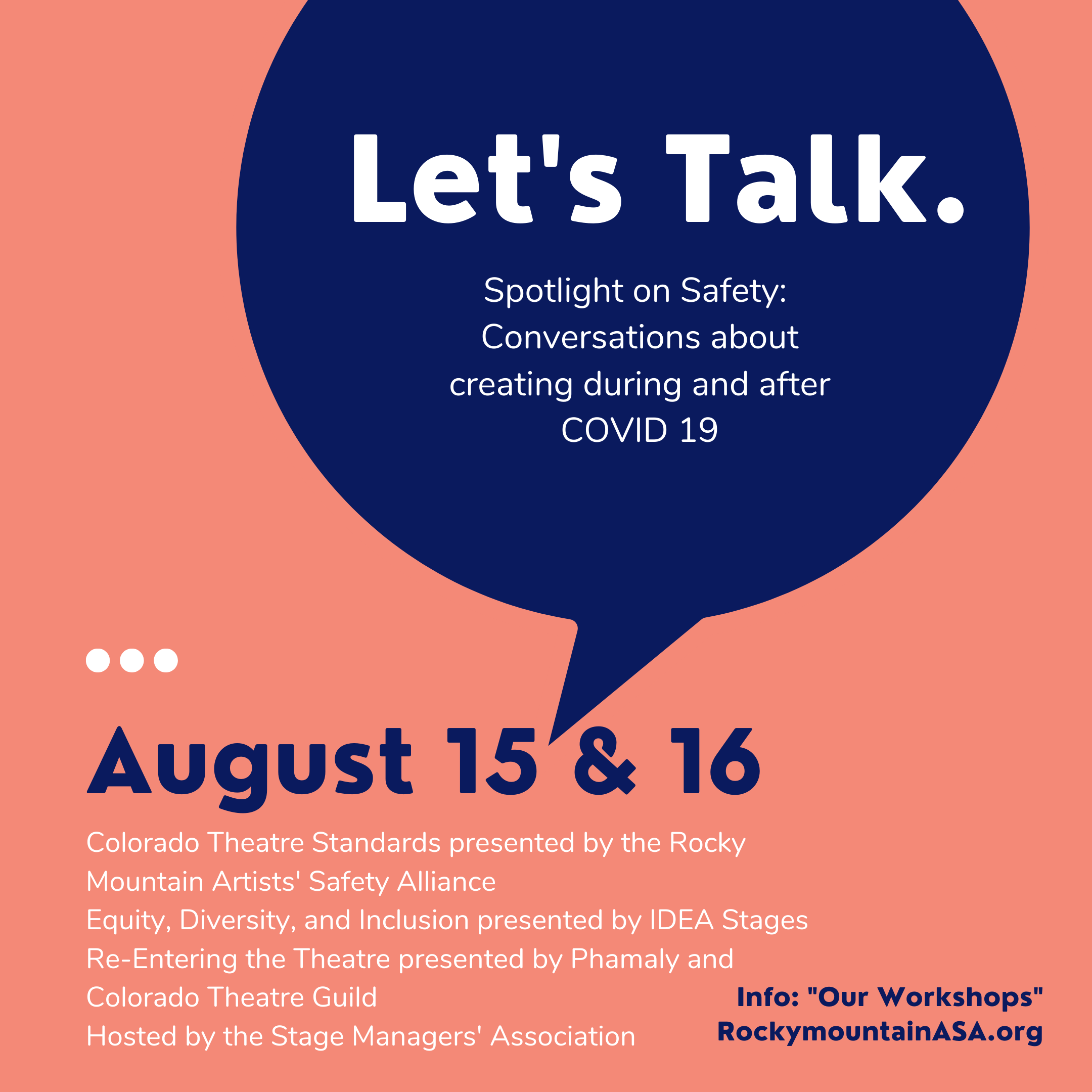 Let's Talk - Promo Image for August 15 & 15 Safer In Theatre Listening Sessions