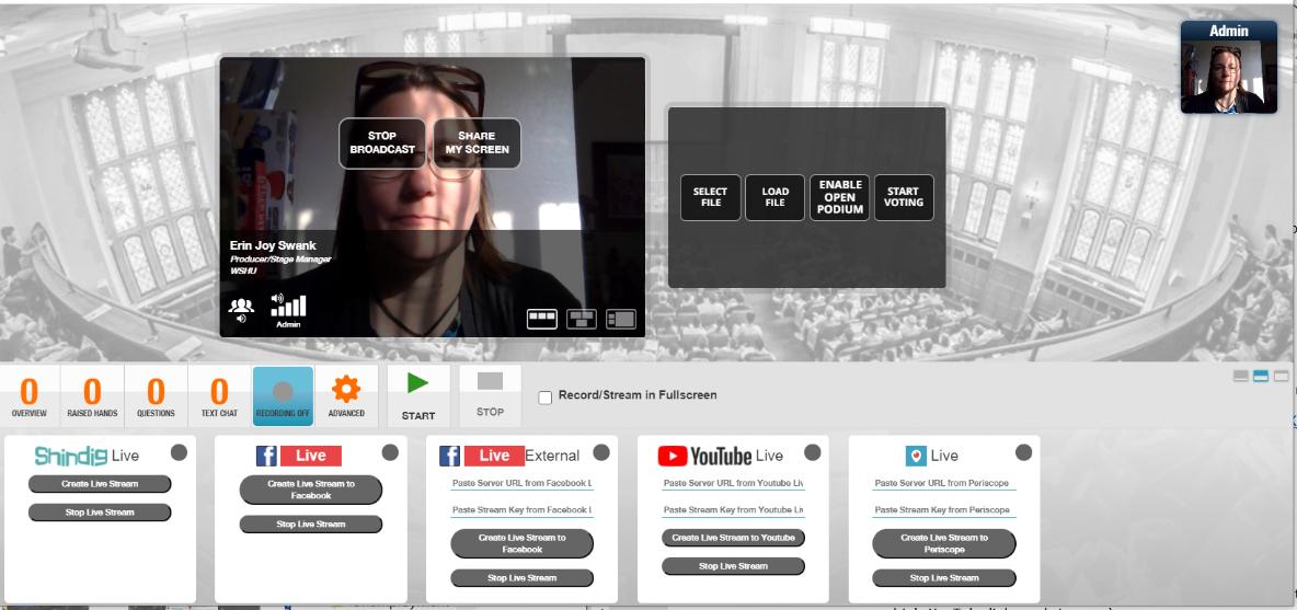 Screenshot of the back end of the Shindig virtual platform