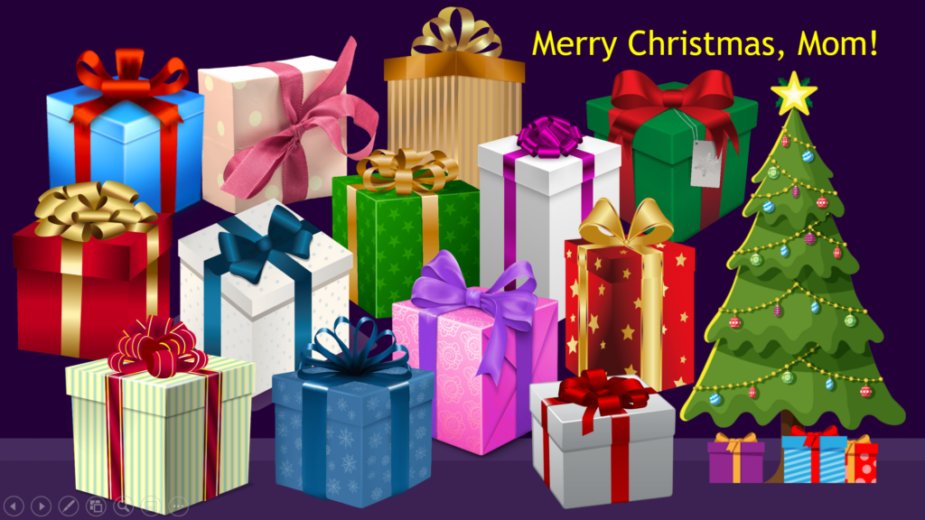 "Image of many gift boxes, a Christmas tree, and the words ""Merry Christmas"""