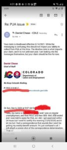 Screenshot of an email from Daniel Chase, Chief of Staff for Colorado's Department of Labor