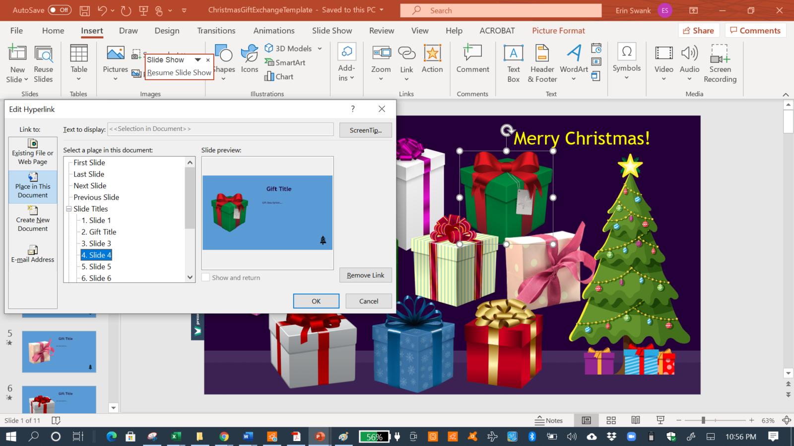 Screenshot of PowerPoint Insert Link to Slide option