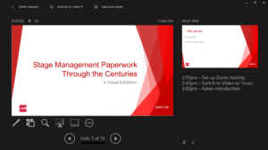 Screenshot of a Powerpoint presentation in Presenter mode, with shared slide on left, next slide in top right, and presenter notes bottom right