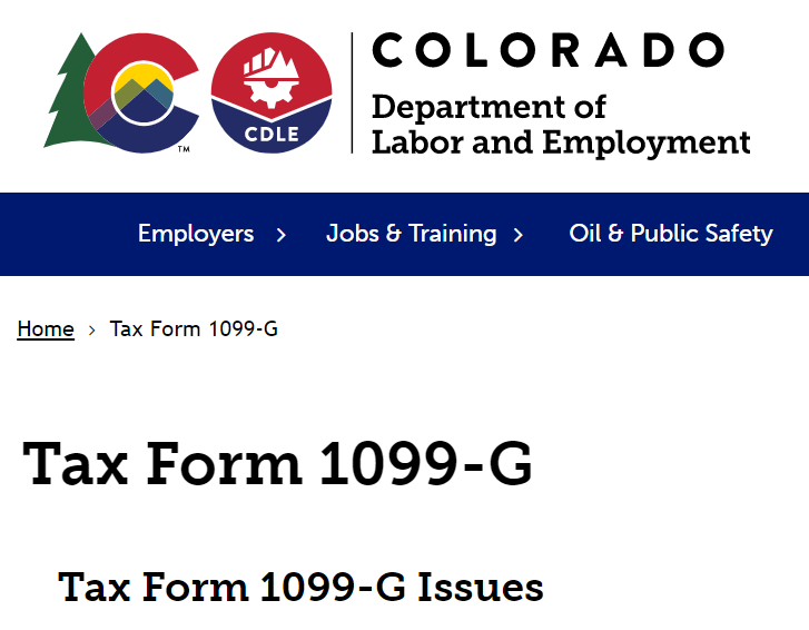 Screenshot of Colorado Department of Labor and Employment's Tax Form 1099-G webpage
