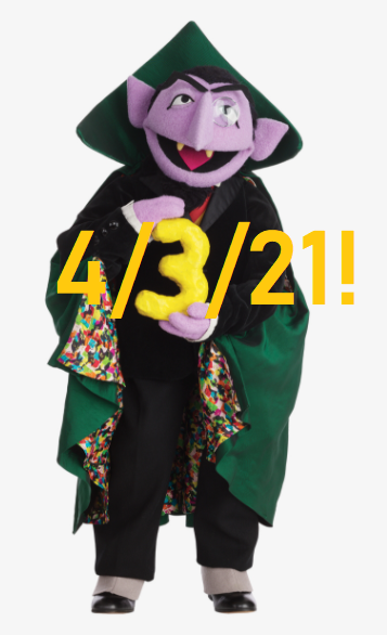 Sesame Street's Count von Count enjoys today's date
