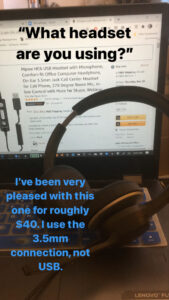 Erin's choice of headset