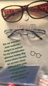 Blueblocker glasses of two sizes