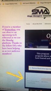 Screenshot of my shadowing opportunity for other stage managers