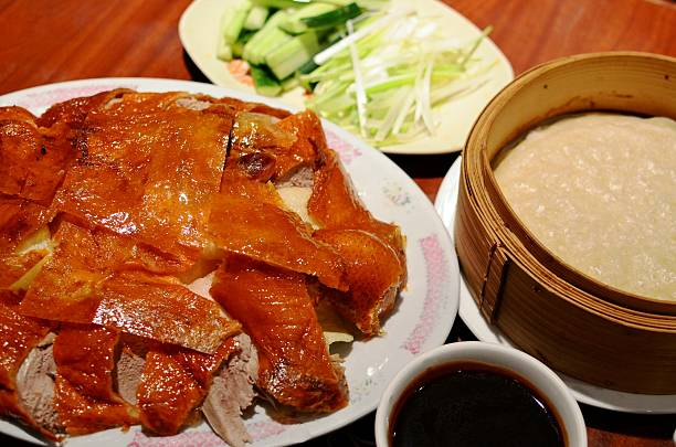 Signature Chinese dish - Traditional Peking Duck served with thin pancakes, cucumber, green onions and sweet sauce