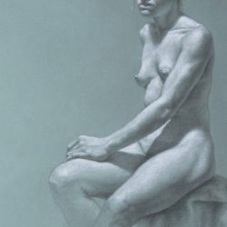 Catherine Lucas Graphite and chalk drawing of woman