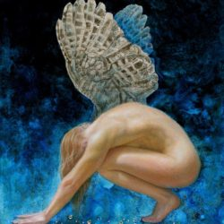 Catherine Lucas Egg Tempera painting of winged figure